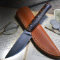 Preview: Heidi Blacksmith Custom knife stabilized pine cones steel 1.2442 incl. Leather sheath