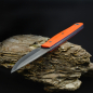 Preview: Heidi Blacksmith 100% Custom Knife 3-Layer C-Steel Flinstone G10 Orange Blue Liner