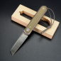 Preview: James Brand - Duval Micarta green with titanium front flipper S35Vn steel pocket knife