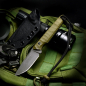 Mobile Preview: SK07-EDC: Messer handgefertigt in SB1 Stahl und Griff in G10 OD-green incl. Kydex