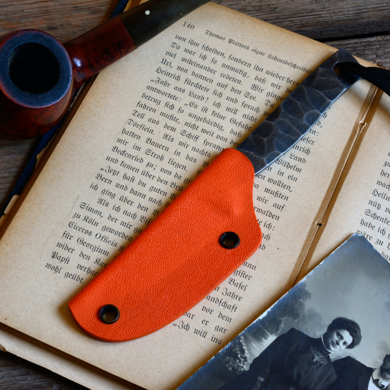 Heidi Blacksmith Custom Messer Stahl 1.2442 incl. Kydex orange