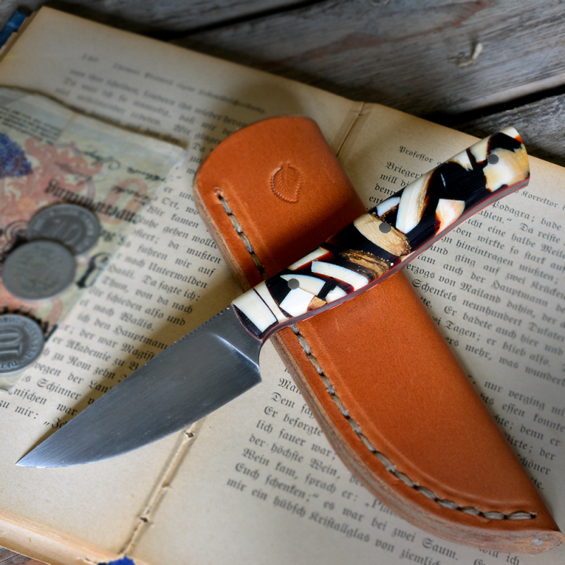 Heidi Blacksmith Custom Knife Stabilized Mammoth Tusk Steel 1.2442