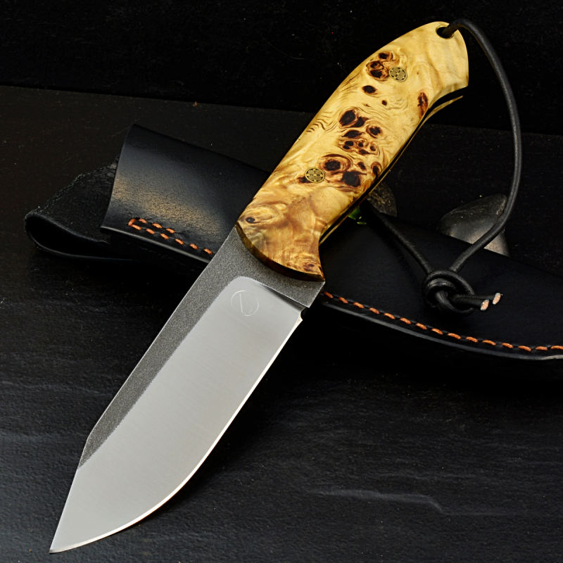 SK02 knife stab. grained poplar wood and handgf. Leather sheath Schanz
