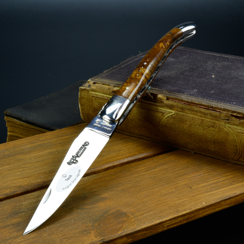 Laguiole Knife and Aubrac Knife Series Brilliant handle of teak rootwood polished 12C27 blade