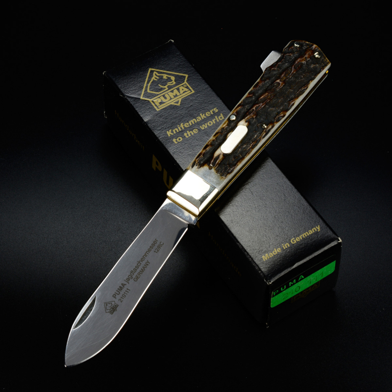 Puma hunting pocket knife with deer horn handle with backlock - special price B-goods from 2012