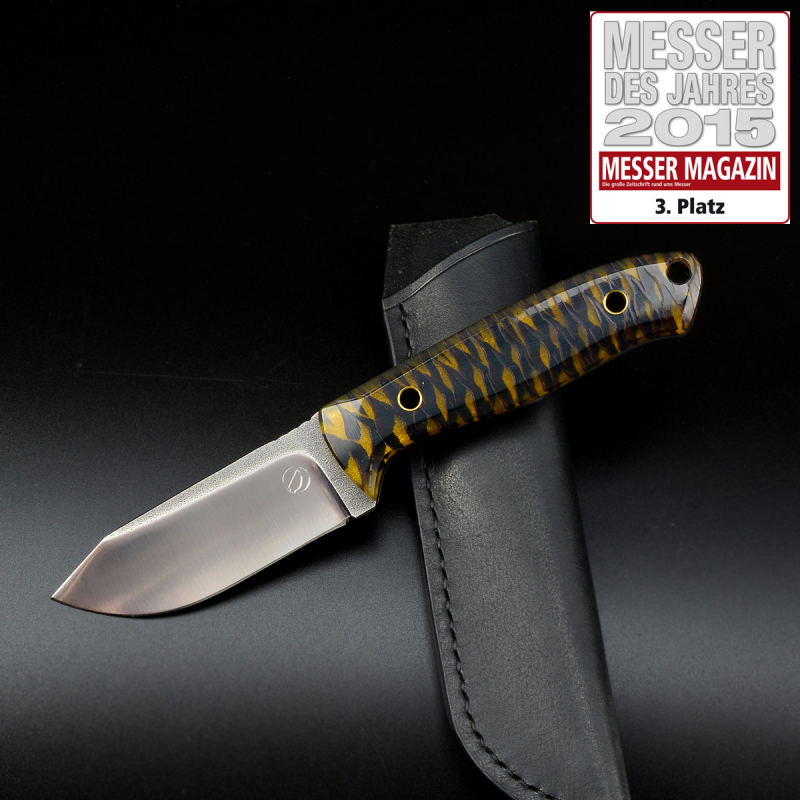 MDK - SK01 EDC knife pine cones yellow SB1 steel