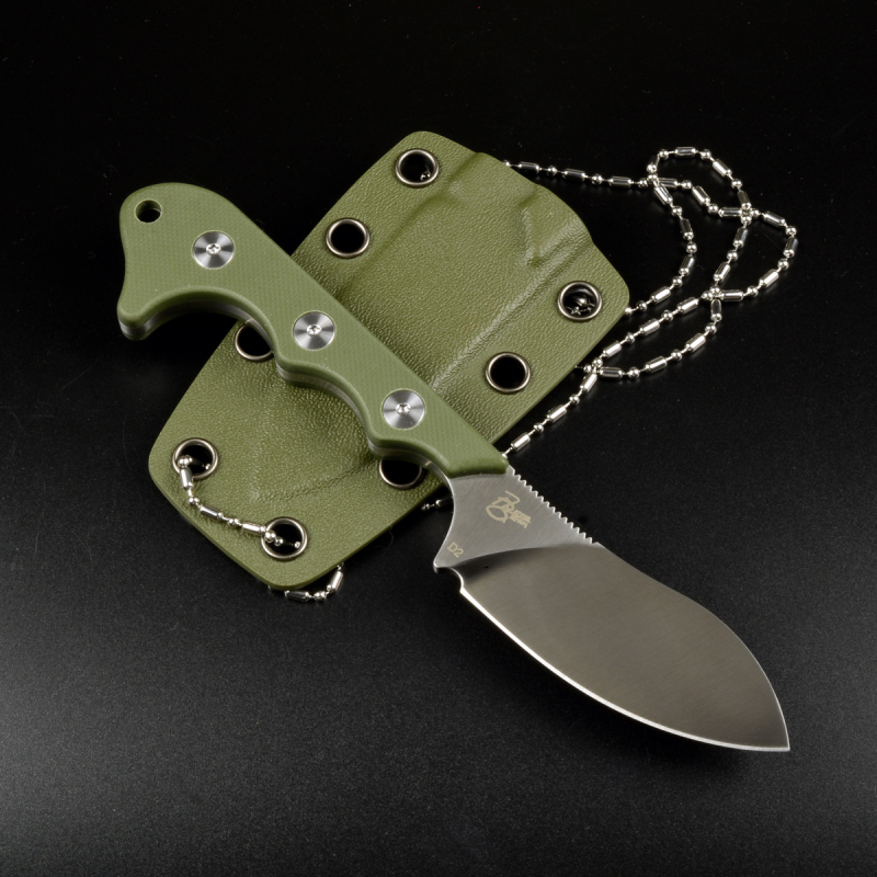 QS125-C Neckmuk Neck Knife by QSp Knives G10 green D2 steel design by Arthur Brehm