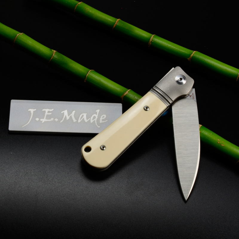J.E. Made Knives - Swayback M390 Mammoth Ivory Titanium Slipjoint Knife