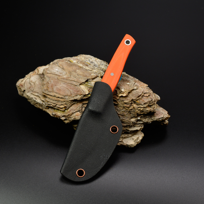 Heidi Blacksmith 100% Custom Knife 3-Layer C-Steel Flinstone G10 Orange Blue Liner