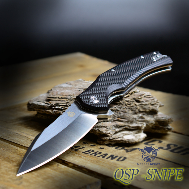 QSP 121-C Snipe Folder from QSP Knives G10 black with D2