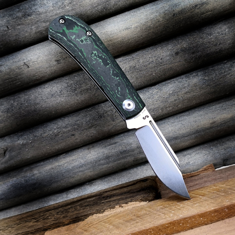 Bevy FAT Carbon jungle waer - Slipjoint pocket knife from Kansept Knives with CPM-S35VN steel stonewashed