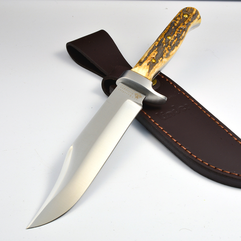 Linder Germany Rehwappen Bowieknife with stag handle stainless
