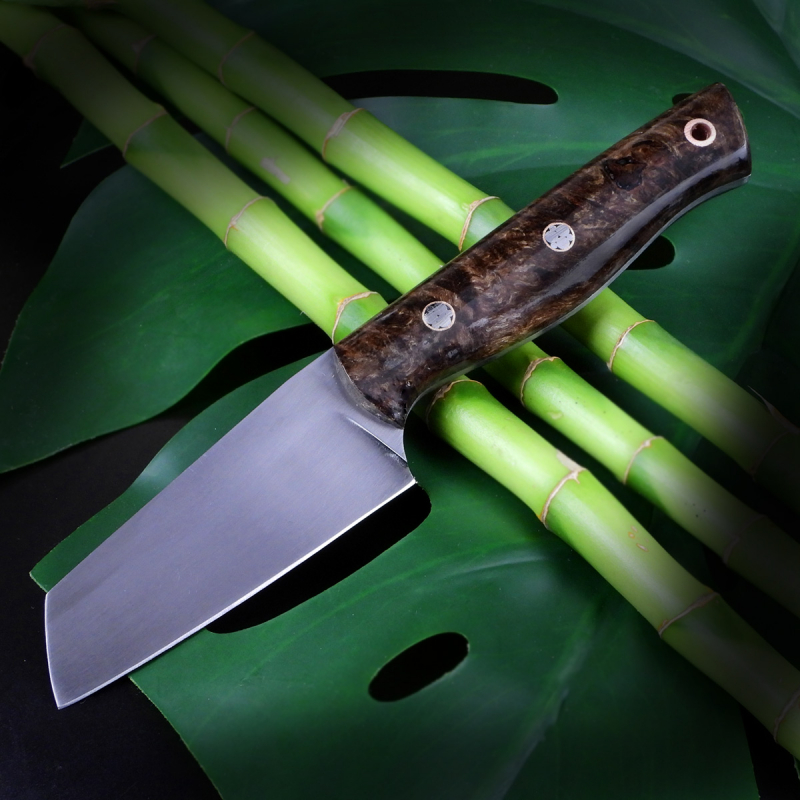 SK05 Outdoor - Heidi 100% custom knife with carbon steel O1 stabilized maple