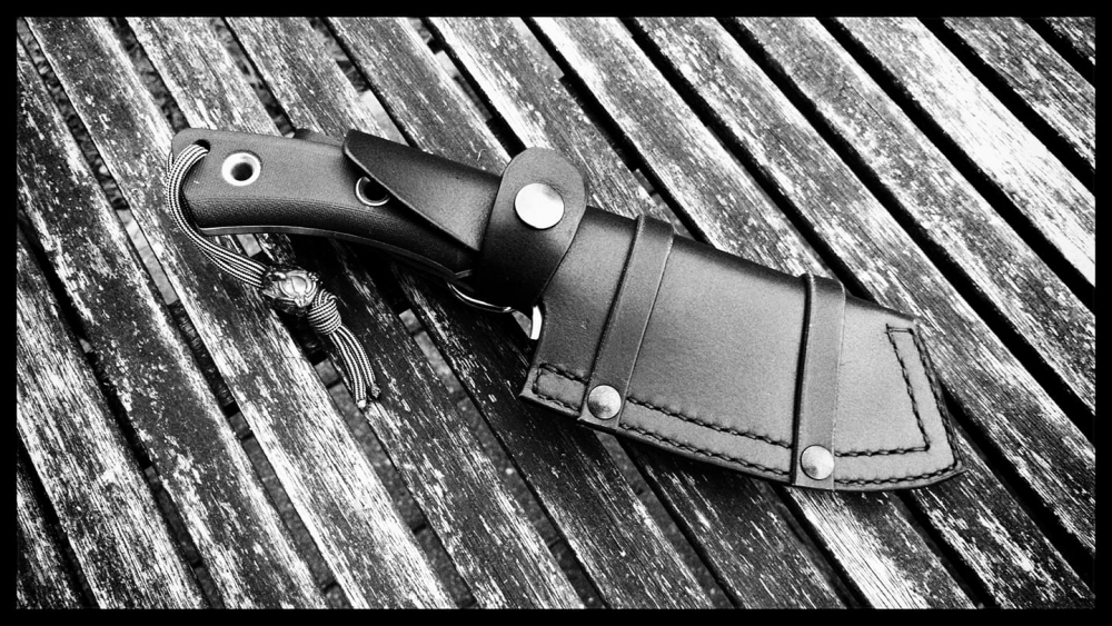 Handmade leather sheath for our SK04 left handed