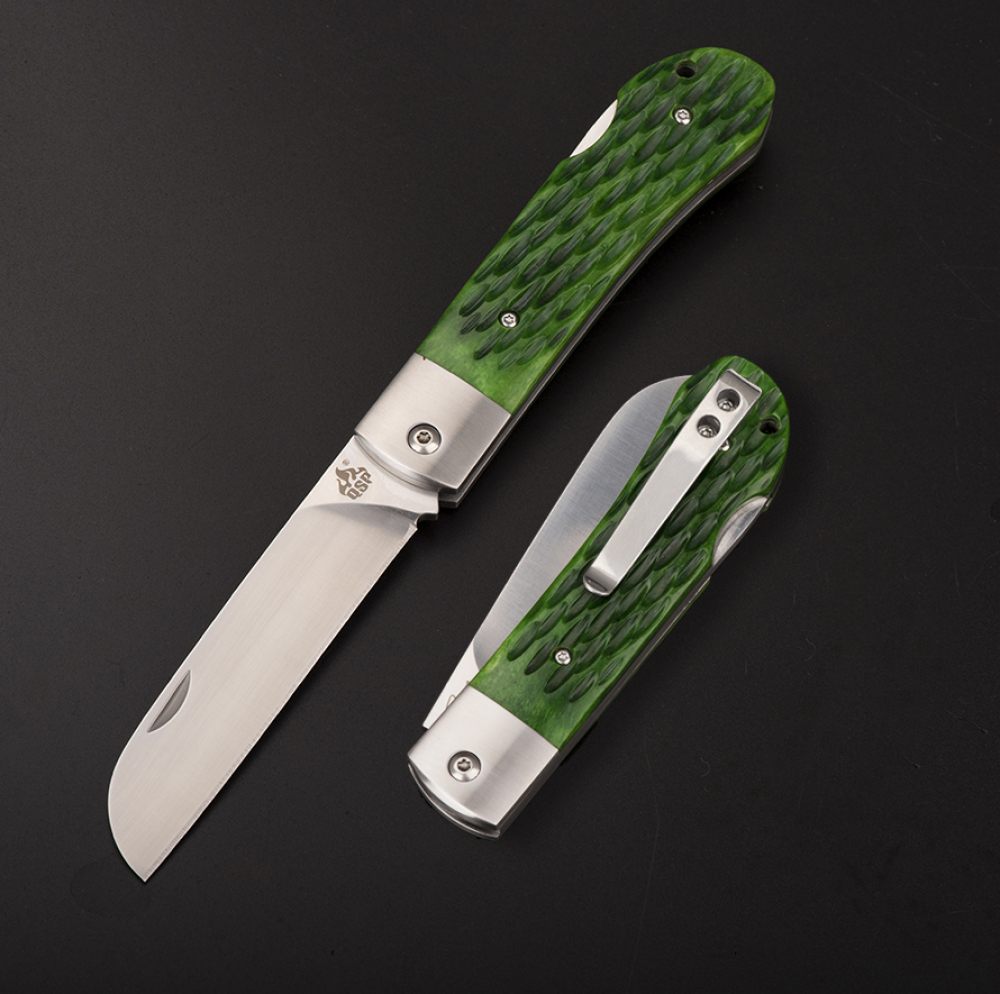 Arthur Brehm WORKER Pocket Knife by QSP Knives with green bone