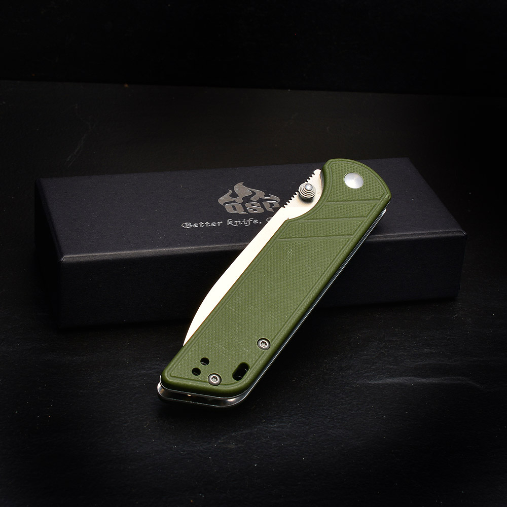 QSP-Knives PARROT Pocket Folder 440C Steel G10 Army Green Linerlock