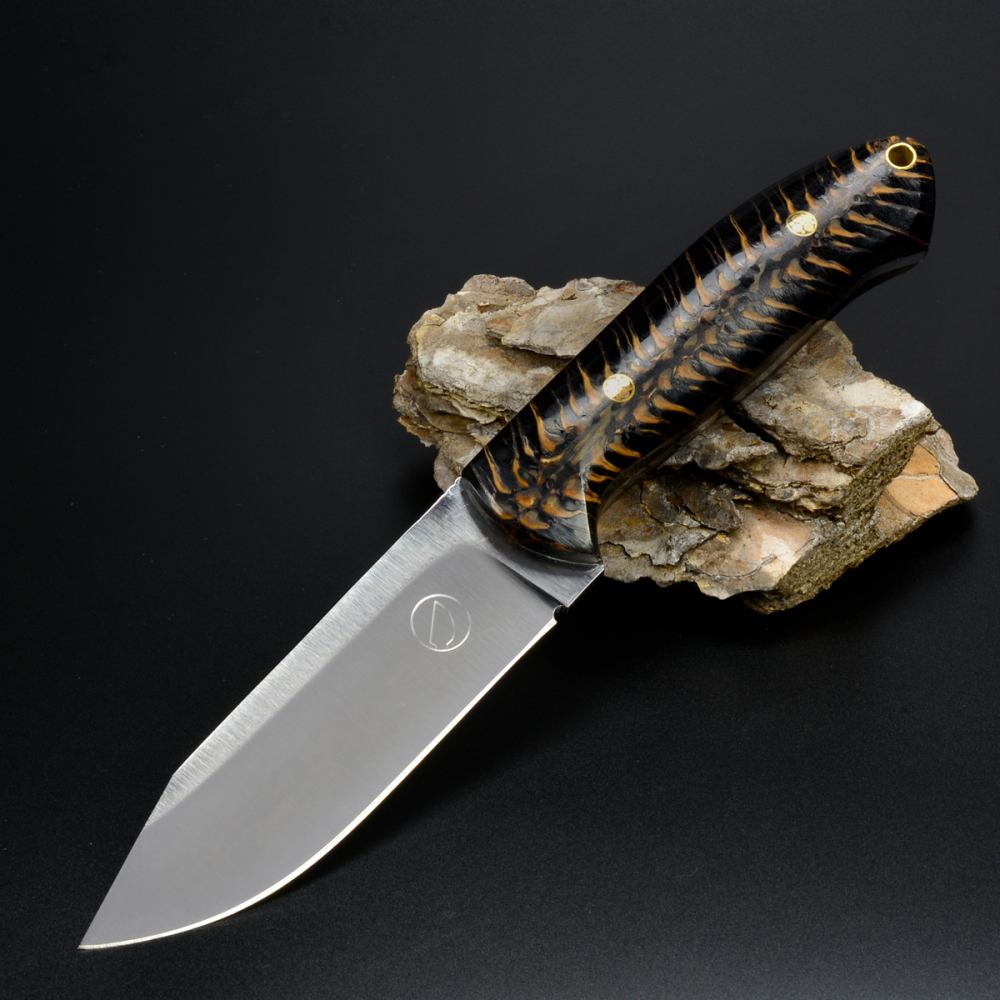 SK02 knife stab. Pine cones handgf. Leather sheath Schanz