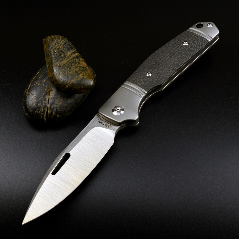 J.E. Made Knives Combustion S35VN Steel Carbon Titanium with Clip New 2019