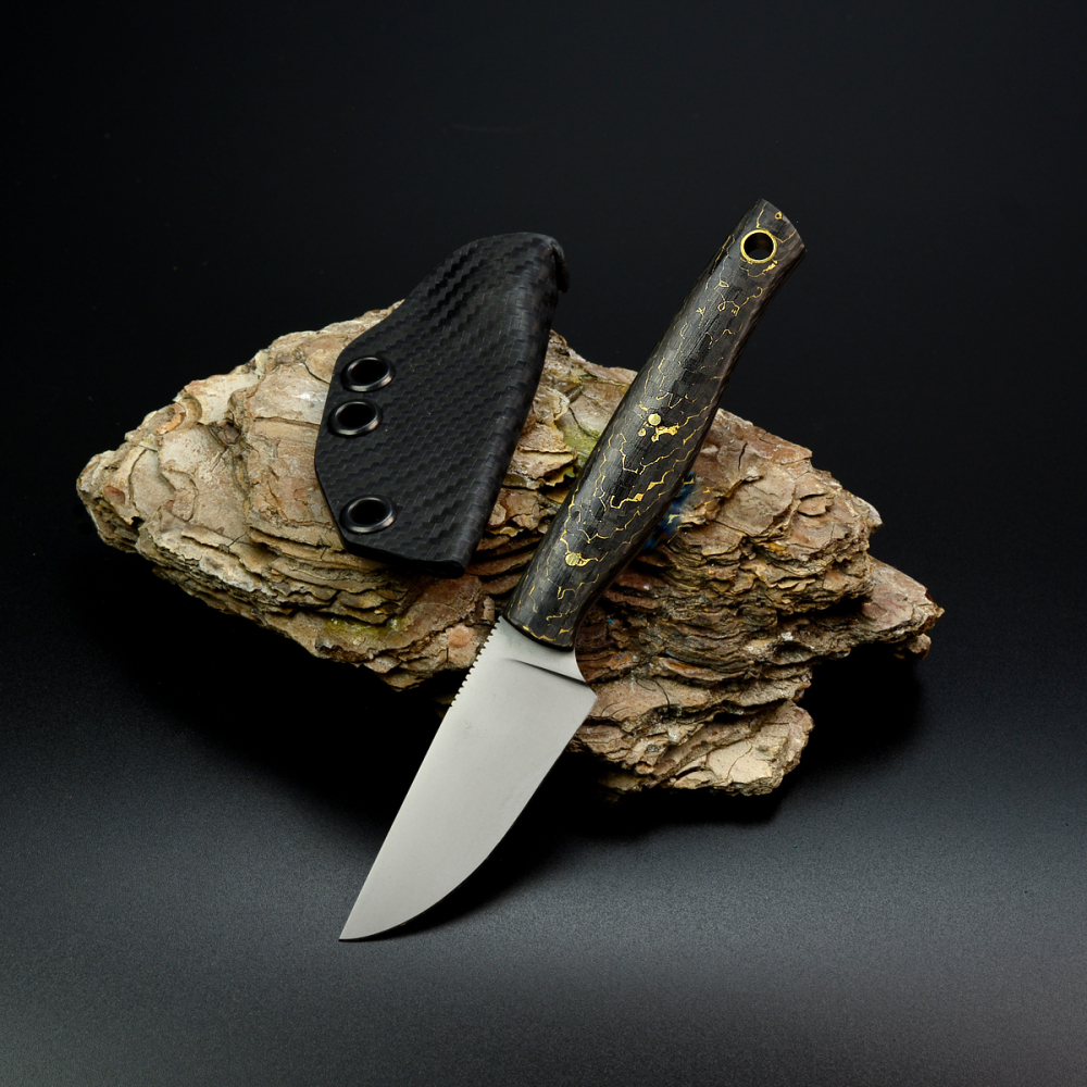 Heidi Blacksmith 100% Custom Knife with RWL34 steel and Snakeskin Carbon
