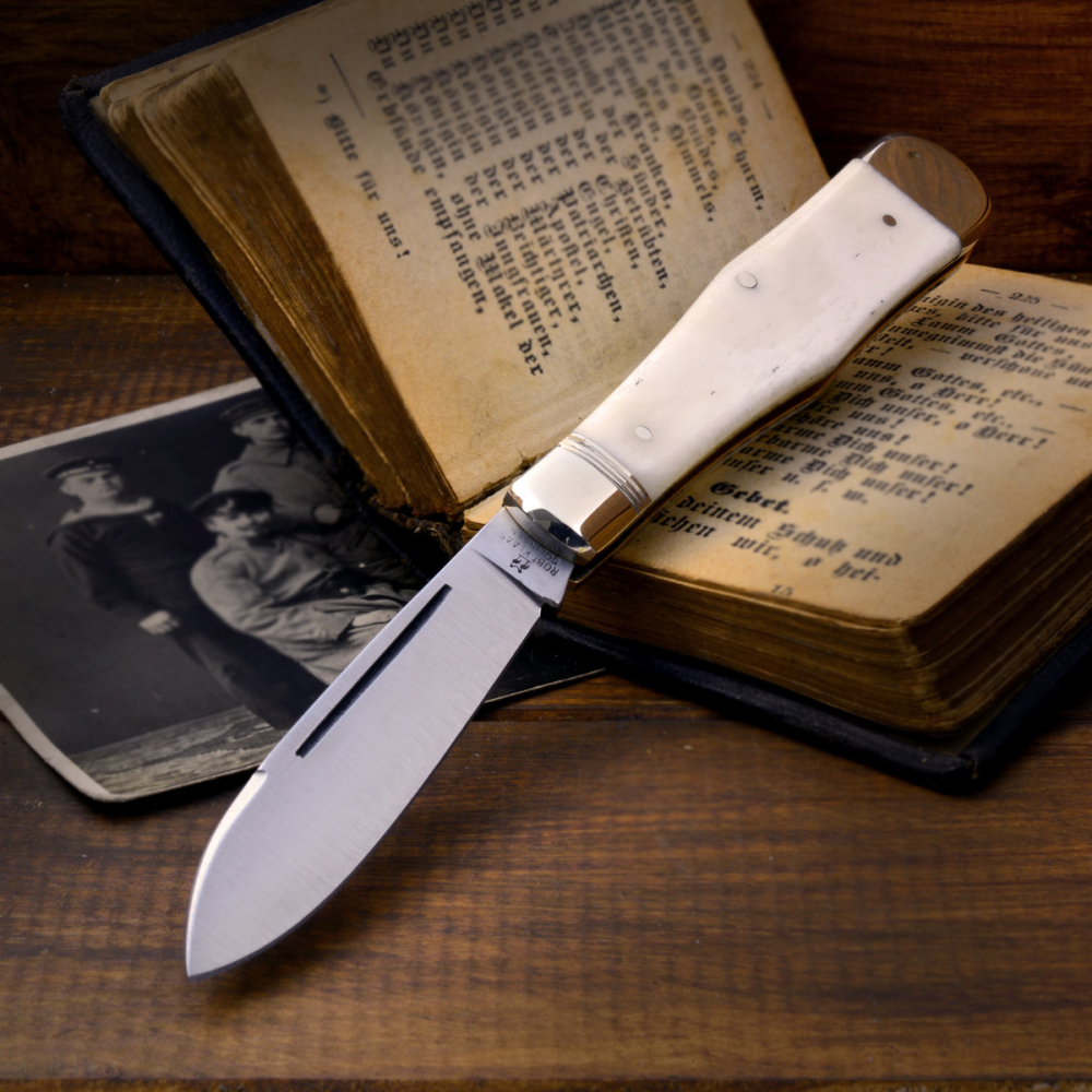 Robert Klaas Pocket Knife - Men's Knife with Bone Handle Carbon Steel