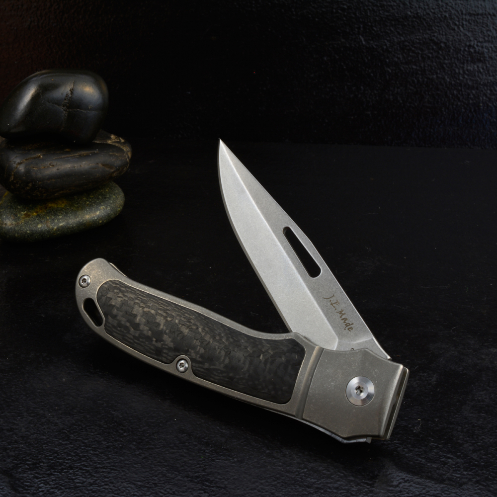 J.E. Made Knives - NYS New York Special Titanium Carbon Inlay without Clip S35VN