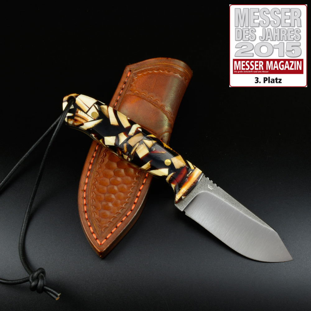 MDK - SK01 EDC knife Mammut pieces with high quality leather sheath SB1 steel