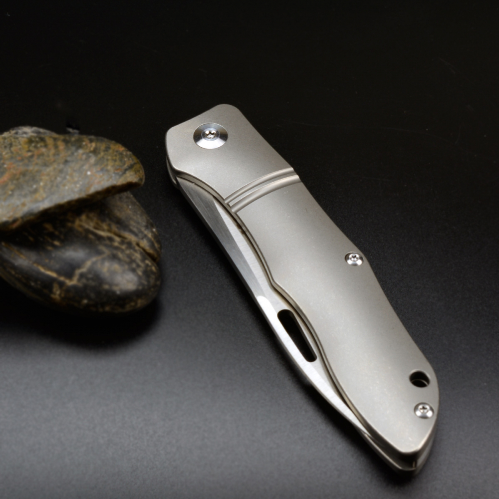 J.E. Made Knives Firefly CPM-S35VN Titanium by hand satin