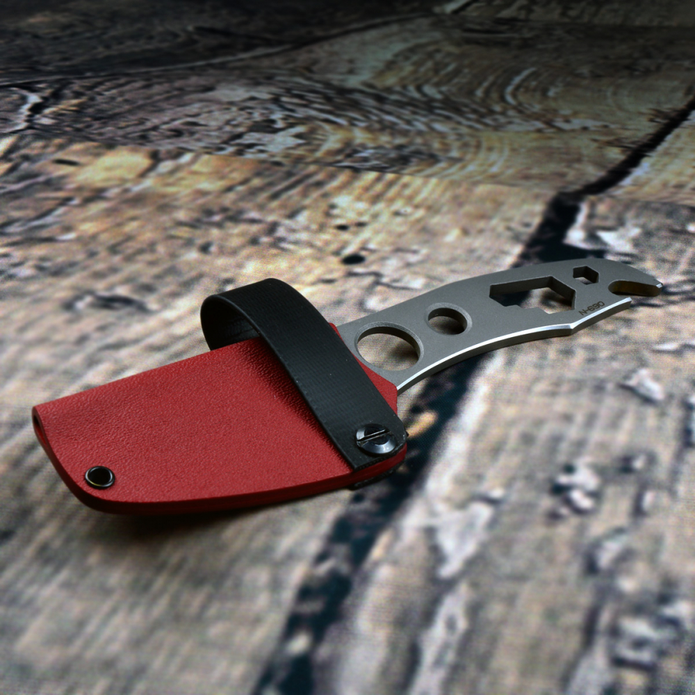 Kondrashov Knives - Cimmerian GRIP Neck Knife satin Kydex red N690 Stahl