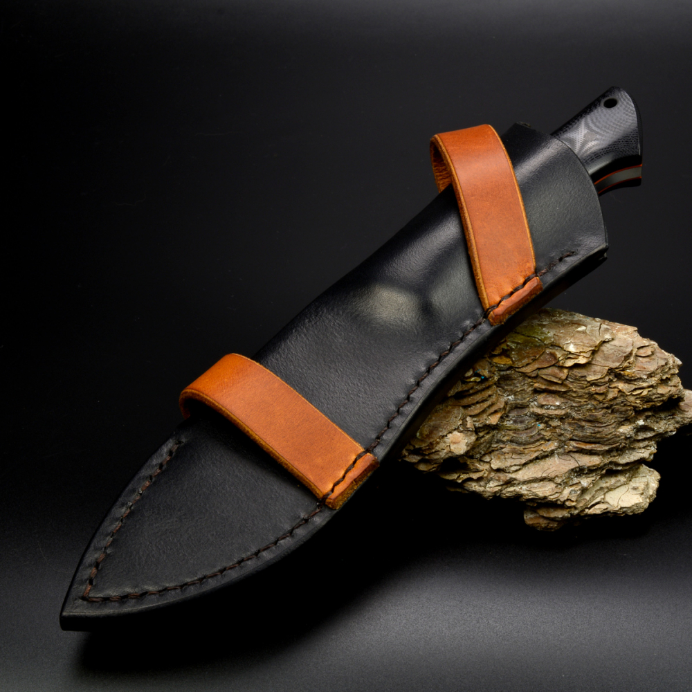 Matthias Leimküller Custom knife from Solingen with handle in G10 and liner in orange