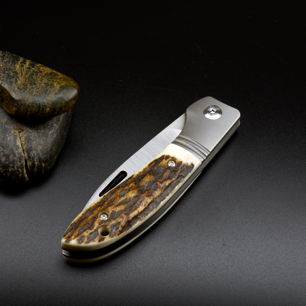 J.E. Made Knives - Phoenix Titanium Staghorn Slipjoint Knife CPM S35VN