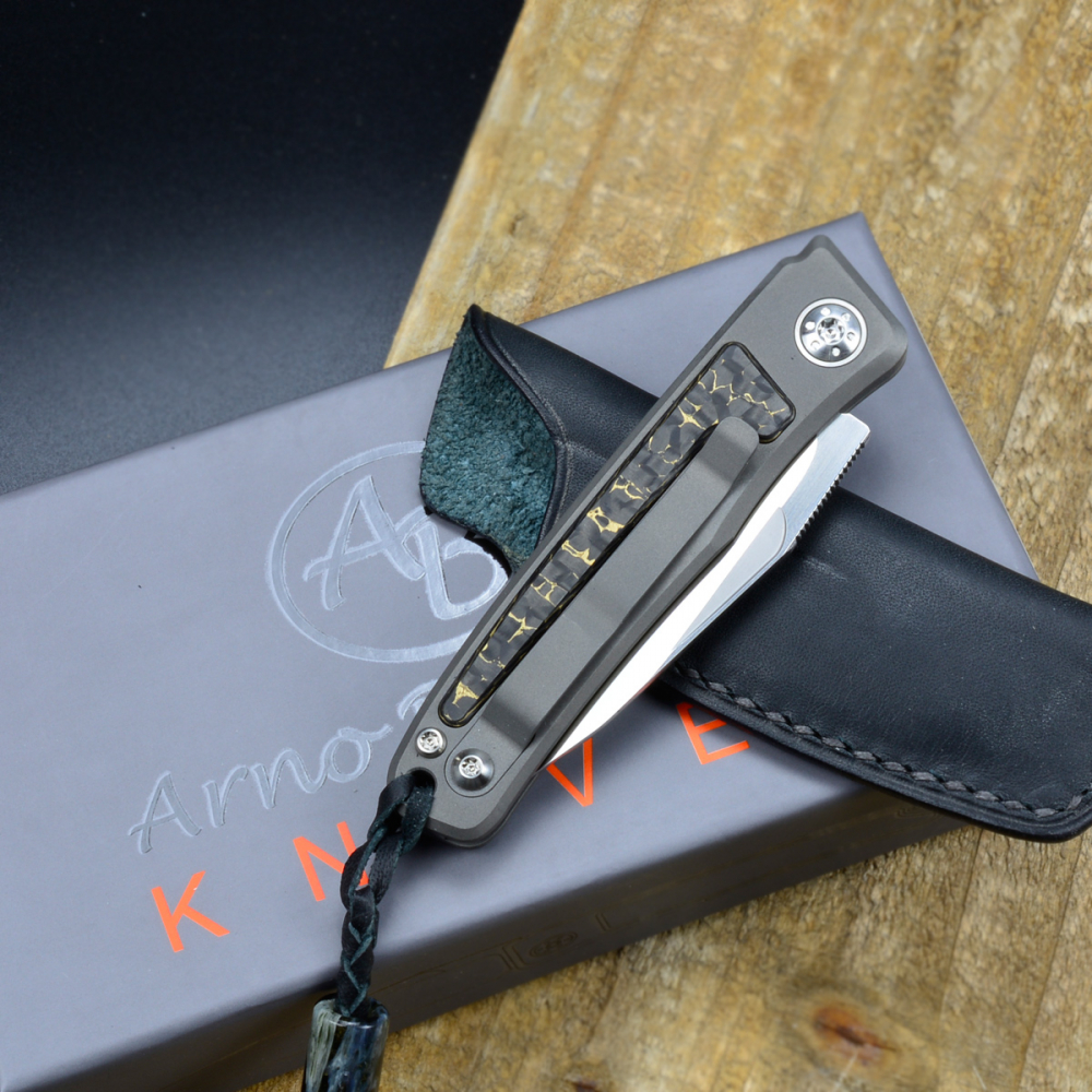 Rinkhals - Arno Bernard Knives - Slipjoint Pocketknife RWL34 with scales Snakeskin Carbon and Titan