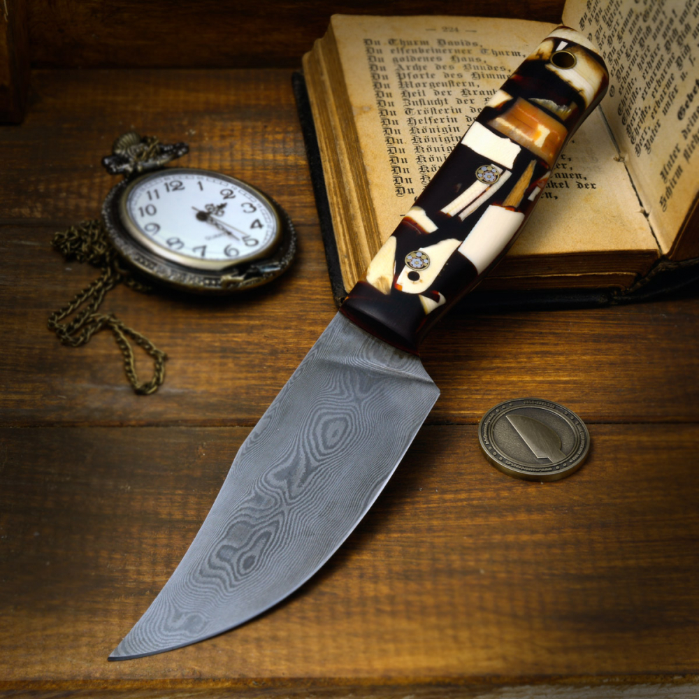 Custom SK05 Bowie Knife Damask + Mosaic Pin + Mammoth Tusk is produced by Heidi Blacksmith