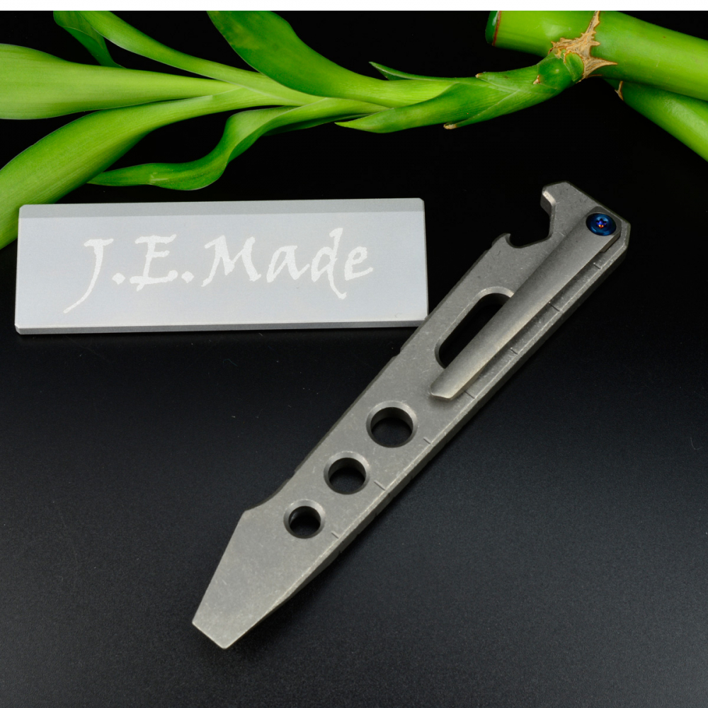 J.E. Made Knives - Pry Bar Titanium Tool with clip stonewashed bottle opener