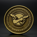 MDK coin in bronze finish - # 9 Manus manum lavat 36mm - Ikosahedron
