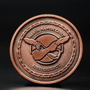 MDK coin in copper finish - # 9 Manus manum lavat 36mm - Ikosahedron