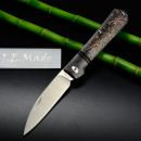 J.E. Made Knives - Swayback Plum Bloom M390 Clip Titanium Slipjoint Knife Handmade