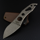 Kondrashov Knives - Cimmerian GRIP Neck Knife full stonewashed Kydex brown N690 steel