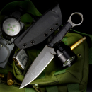 Forge Works Ringblade carbon steel 80CrV2 cryo treatment handle G10 black custom knife