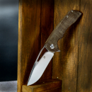 "Kansept Knives ""Low budget"" Cryo Folder Knife with Micarta brown D2 steel flipper"