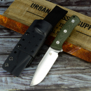 QSP Bushcraft knife incl. Kydex + belt system + belt adapter linen micara green D2 steel